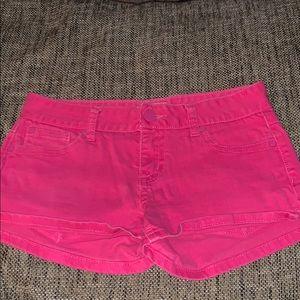 Hot pink denim jean shorts